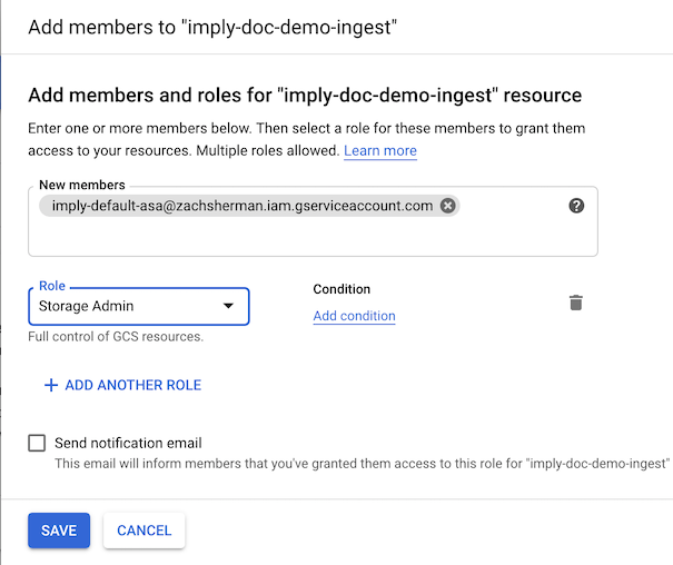GCP enhanced bucket add service account permission
