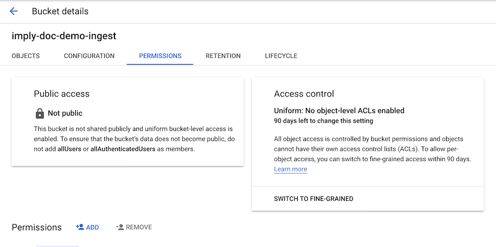 GCP enhanced bucket permissions